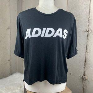 Adidas Logo Short Sleeve Crop Top Medium